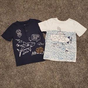 Lot of 2 Wonderkids nautical shirts. Size 4T